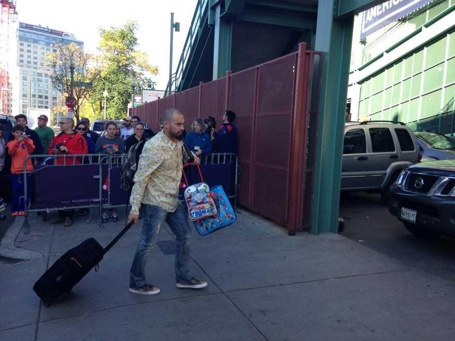 Shane Victorino arrives at Fenway Park.