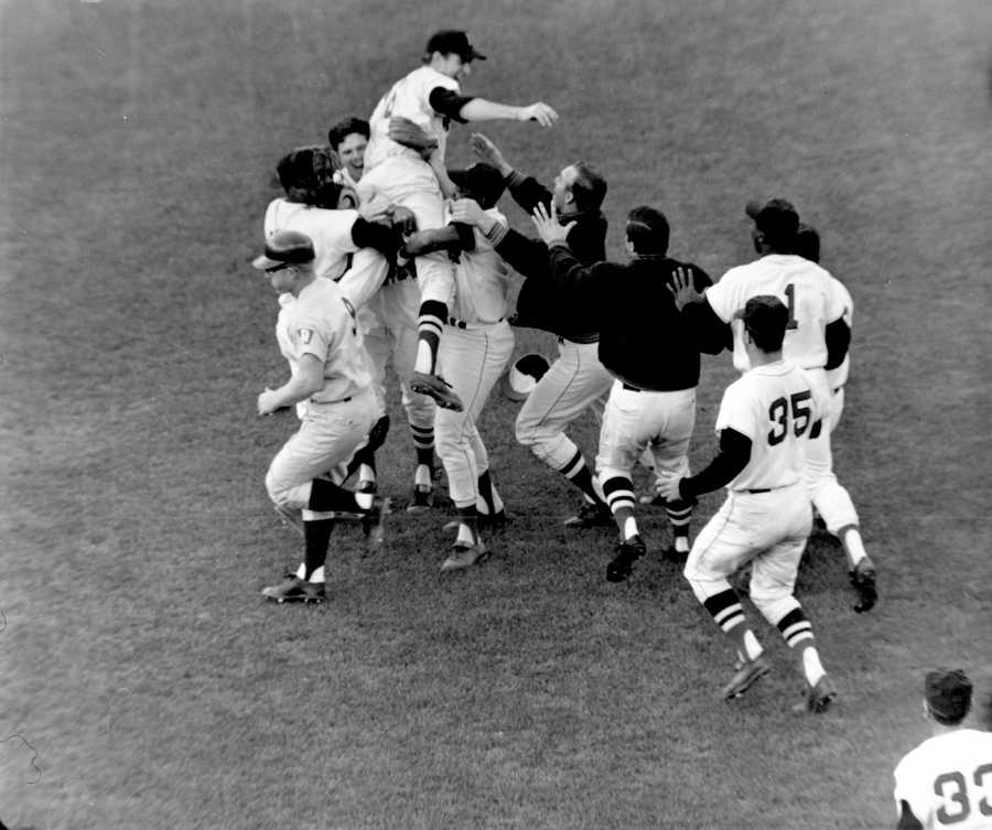 """""""Impossible Dream Team""""Boston Red Sox pitcher Jim Lonborg is lifted by his teammates following their 5 to 3 victory over the Minnesota Twins at Fenway Park, Oct. 2, 1967. The victory gave the American League pennant to what was dubbed as the """"Impossible Dream"""" team."""