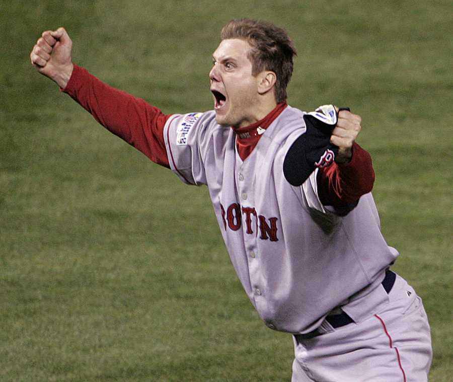 """""""Another World Series win""""Boston Red Sox's Jonathan Papelbon celebrates after the final out in Game 4 of the baseball World Series against the Colorado Rockies, Oct. 28, 2007, at Coors Field in Denver. The Red Sox won 4-3 to sweep the series and take their second World Series of the decade."""