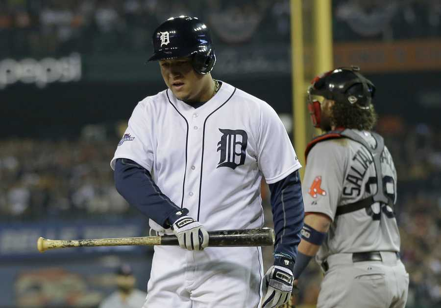 Detroit Tigers' Miguel Cabrera reacts after striking out in the eighth inning during Game 3 of the American League baseball championship series against the Boston Red Sox Tuesday, Oct. 15, 2013, in Detroit.