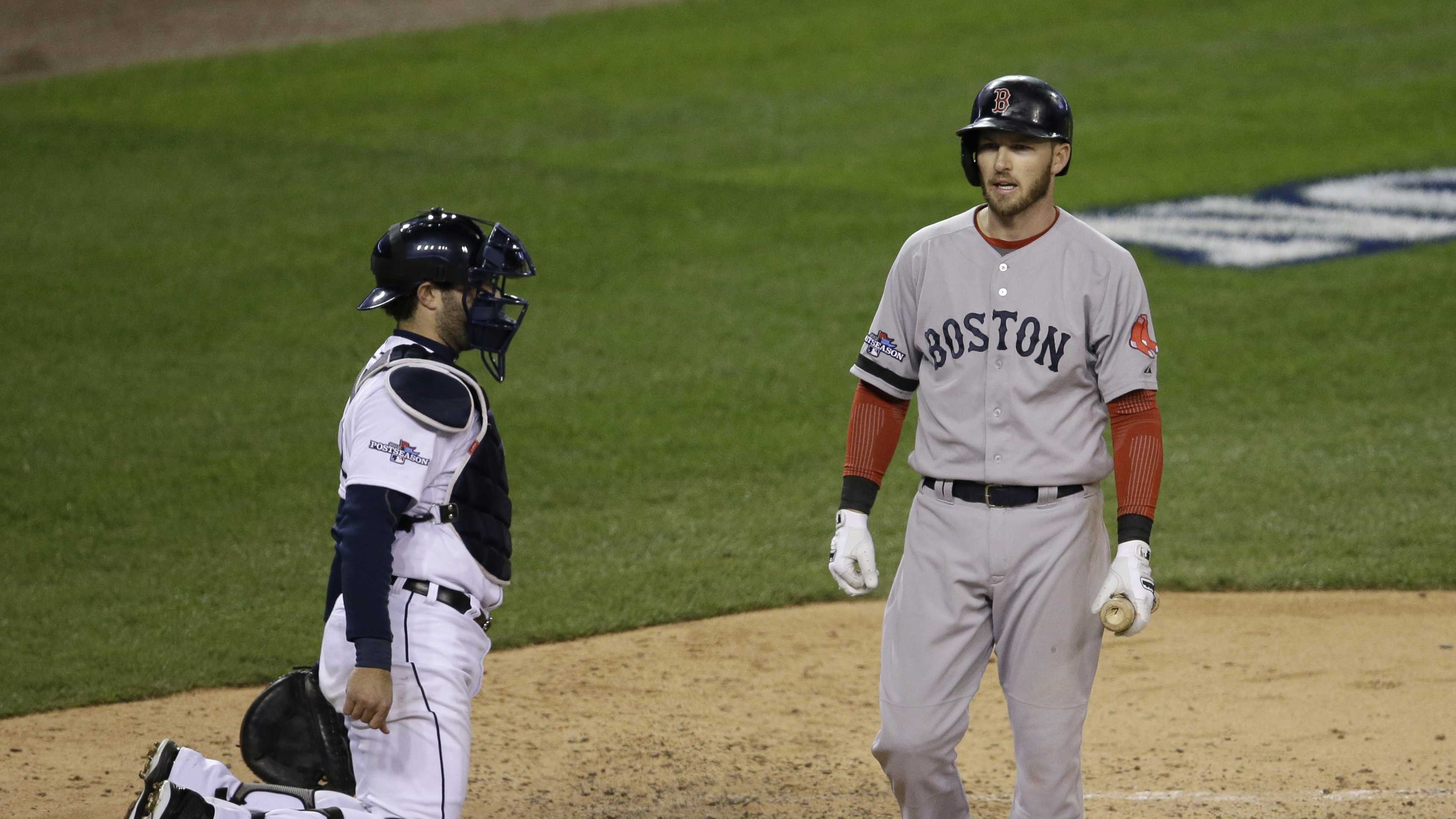 Boston Red Sox's Stephen Drew walks off after striking out in the sixth inning during Game 4 of the American League baseball championship series against the Detroit Tigers, Wednesday, Oct. 16, 2013, in Detroit.