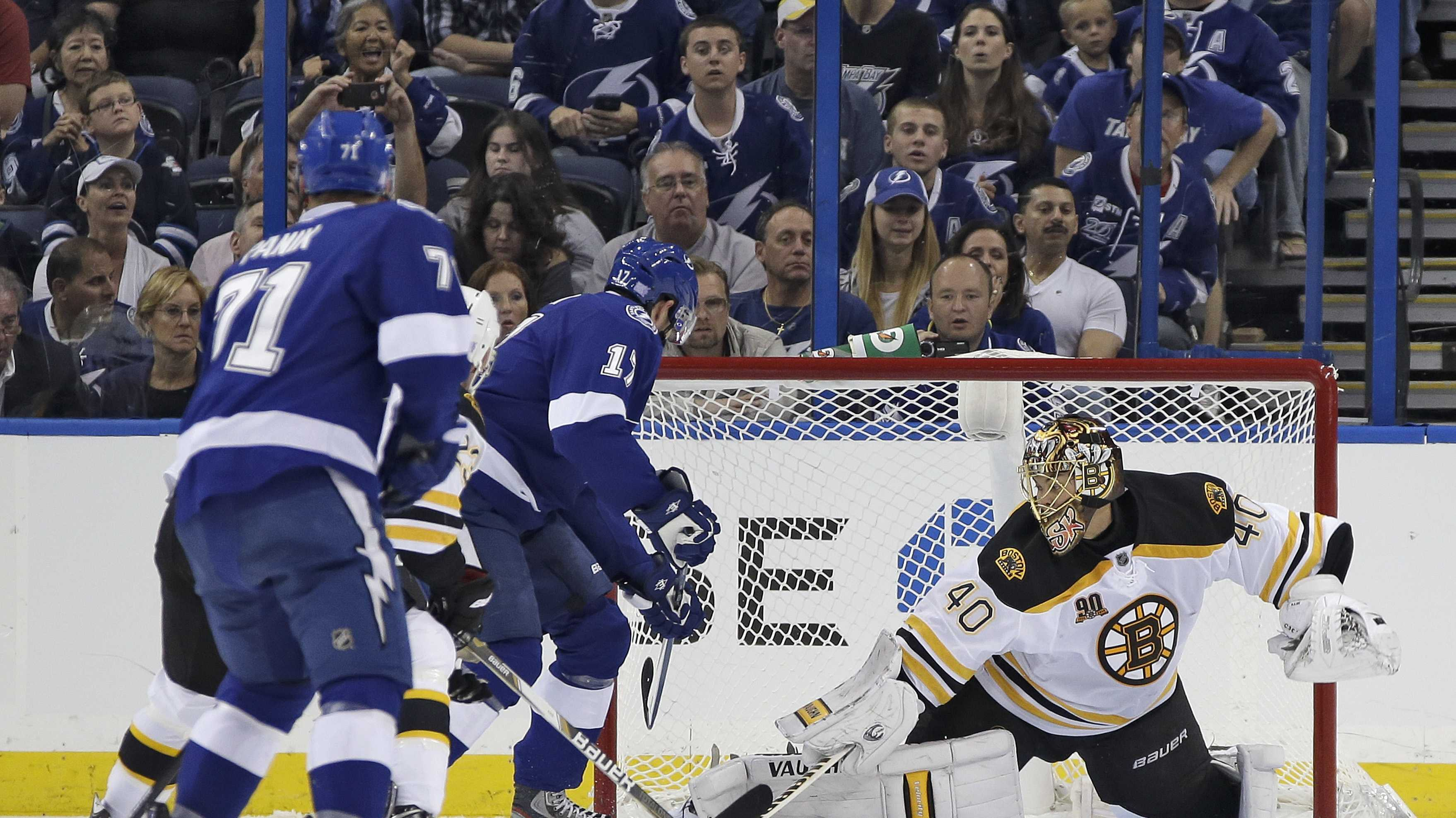 Boston Bruins goalie Tuukka Rask (40), of Finland, makes a save on a shot by Tampa Bay Lightning center Alex Killorn (17) during the first period of an NHL hockey game Saturday, Oct. 19, 2013, inTampa, Fla.