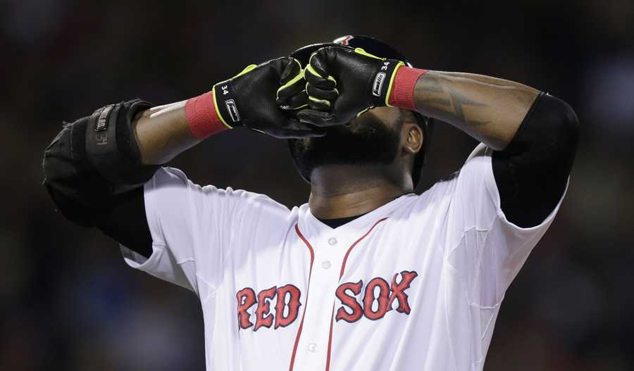 Boston Red Sox's David Ortiz reacts after popping out to Detroit Tigers second baseman Omar Infante in the fourth inning.