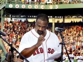Eight numbers have been retired by the Sox:Bobby Doerr, 1&#x3B; Joe Cronin, 4&#x3B; Johnny Pesky, 6&#x3B; Carl Yastrzemski, 8&#x3B; Ted Williams, 9&#x3B; Jim Rice, 14 (pictured here during a ceremony retiring his number)&#x3B; Carlton Fisk, 27&#x3B; and Jackie Robinson, 42.Their numbers are displayed over the right field grandstands.