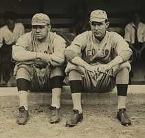 """Although a perfect game has never been thrown at Fenway, Ernie Shore (pictured, right) was originally credited with one after he relieved Babe Ruth (left) on June 23, 1917. Shore retired 26 batters. Shore was credited with a perfect game for 74 years until MLB redefined a """"perfect game"""" in 1991."""