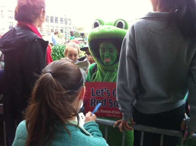 "It didn't take long for all sorts of different ""Green Monsters"" to show up -- hoping to win the tickets."