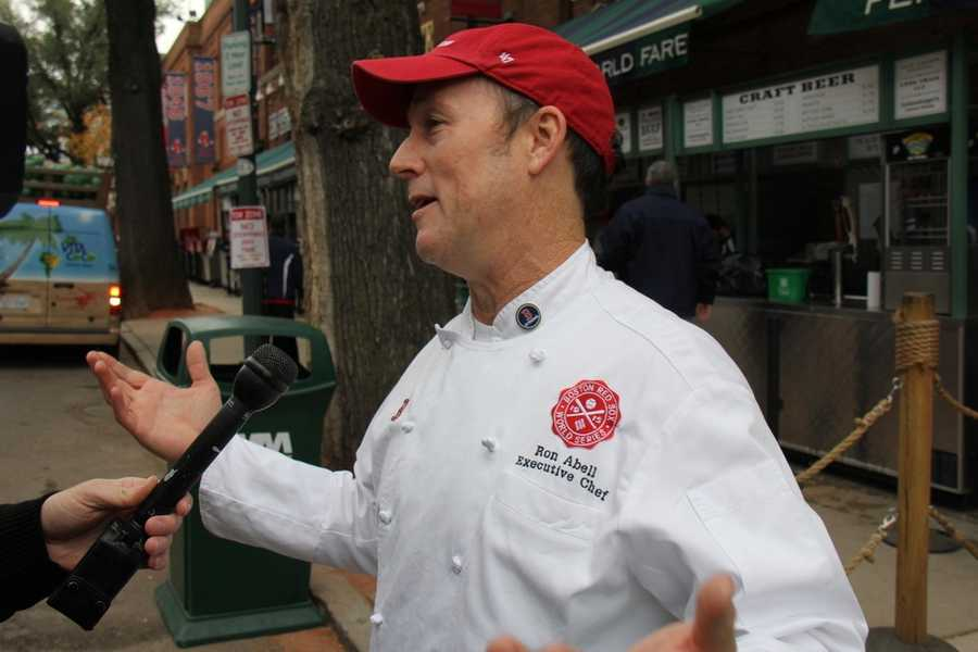This is the man in charge of the menu: Rob Abell is the Executive Chef for Aramark, the company that provides food and beverages to Fenway Park.