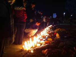 A vigil for Colleen Ritzer was held at Danvers High School Wednesday night.