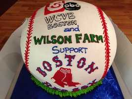 Wilson Farm shared this cake after the Boston Red Sox won Game 1 Wednesday night.