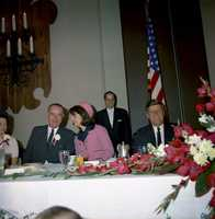 The head table at the Fort Worth Chamber of Commerce Breakfast, Hotel Texas, Fort Worth, Texas, 22 November 1963. (L-R) Lady Bird Johnson, Vice President Lyndon B. Johnson, First Lady Jacqueline Kennedy and President John F. Kennedy.