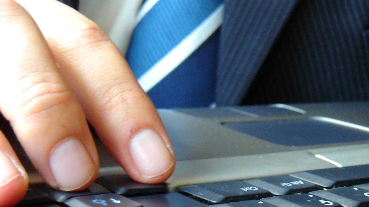 man typing