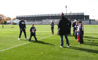 In addition to some playing on the field, the kids and their families had the opportunity to see the visitor's locker room, player's jerseys and the Super Bowl trophies.