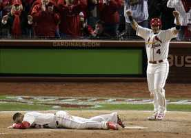 """Said Cardinals slugger Matt Holliday: """"You hate for it to end on a somewhat controversial play.""""""""You would like for it to end a little cleaner, but that's part of it,"""" he said.Joyce and crew chief John Hirschbeck said they'd never seen a similar game-ending play."""