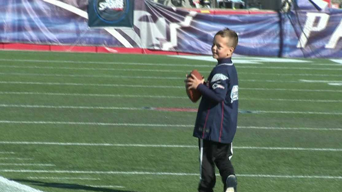 Alex Nichols on the field at Gillette Stadium.