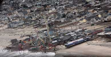 An aerial look at damage caused by Hurricane Sandy in New Jersey.