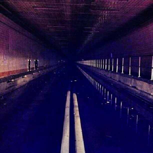 Flooding inside the Holland Tunnel which connects New York City with New Jersey.