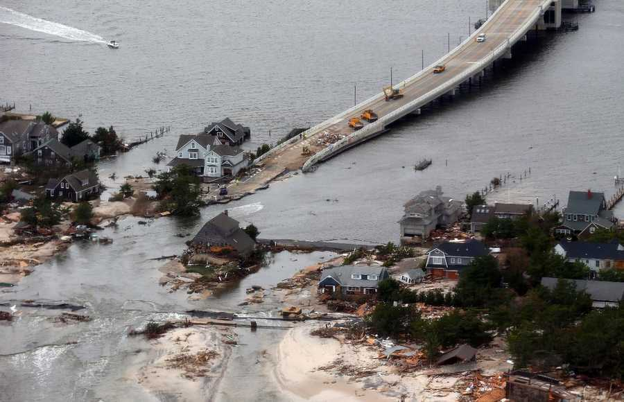 The view of storm damage over the Atlantic Coast in Seaside Heights, N.J., Wednesday, Oct. 31, 2012, from a helicopter traveling behind the helicopter carrying President Obama and New Jersey Gov. Chris Christie.