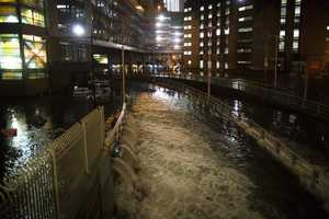 Sea water floods the entrance to the Brooklyn Battery Tunnel.