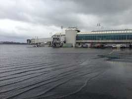 Flooding at LaGuardia Airport in New York City.