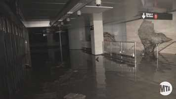 This photo taken just after Sandy shows water covering the floor in the station.  The actual train platform is located TWO LEVELS down.  The water prevented any sort of tour of the actual platform area.