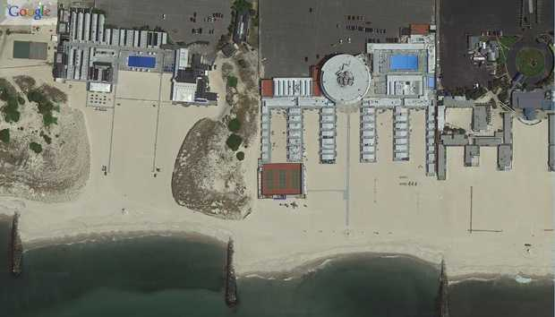 "Long Beach, New York. ""Before"" image captured by Google&#x3B; ""After"" image captured by NOAA's National Geodetic Survey."