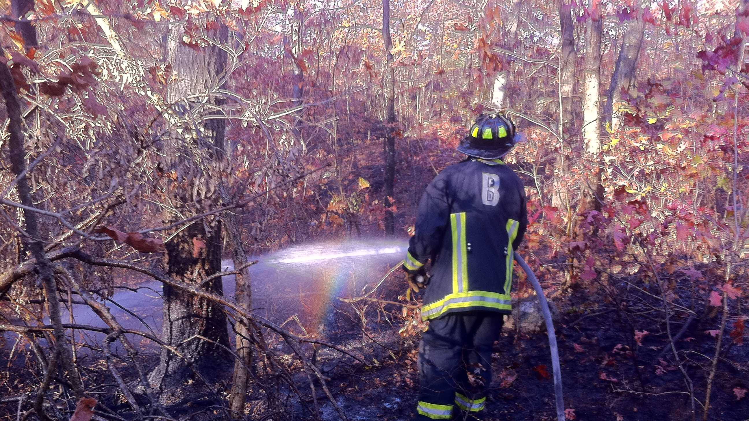 A firefighter works to extinguish a brush fire in West Roxbury on Monday, Oct. 28, 2013.