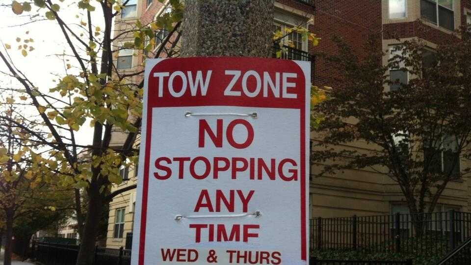 World Series Parking Ban Sign 102913