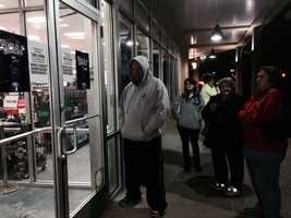 Fans lined up outside Modell's to scoop up World Series merchandise even before the game ended.