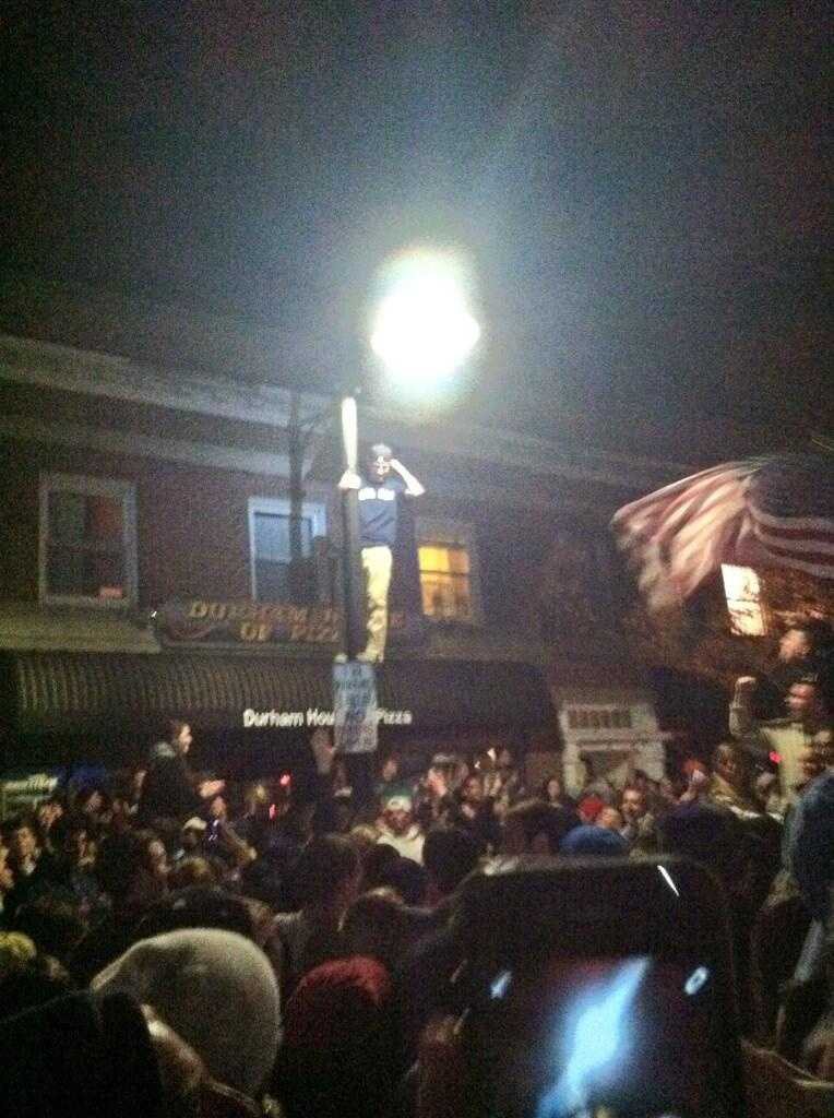 University of New Hampshire officials said students were allowed to gather and celebrate on Main Street in Durham for about 20 minutes. See our story here