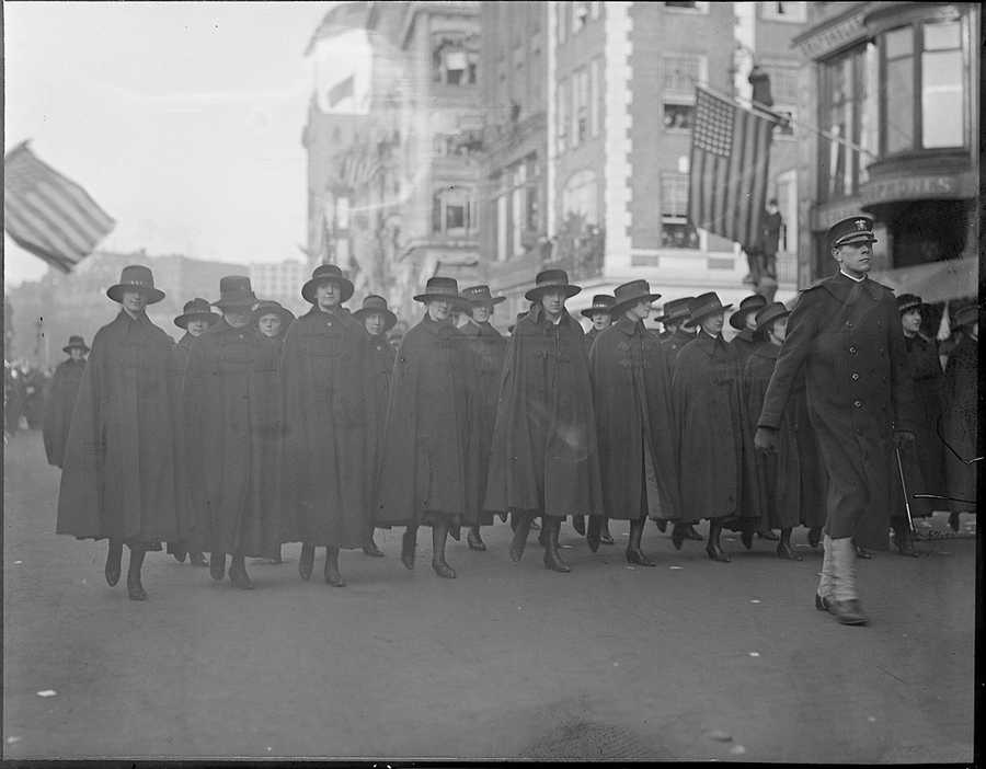 "Yeo girls on parade during armistice celebration in 1918. ""Yeo girls"" were female Yeoman reservists who performed clerical duties during World War I."