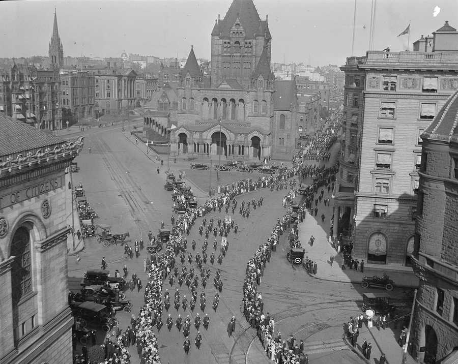 Parade through Copley Square in 1918