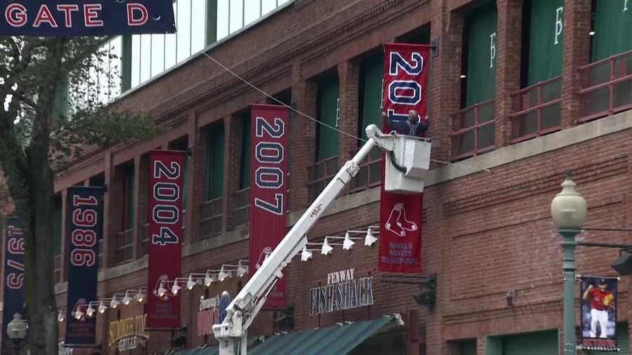 The Boston Red Sox wasted no time switching out their American League Championship Series banner for their World Series banner.