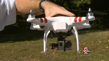 At the Tower, the abilities of the DJI Phantom Quadcopter are demonstrated.