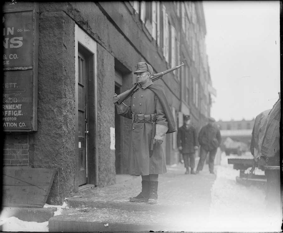 Guarding the waterfront: sentry patrolling Atlantic Avenue, looking for German spies