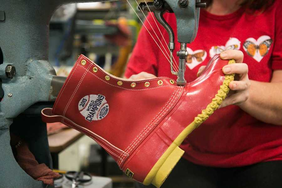 In honor of the Red Sox World Series win, L.L. Bean has made custom boots for members of the Red Sox.