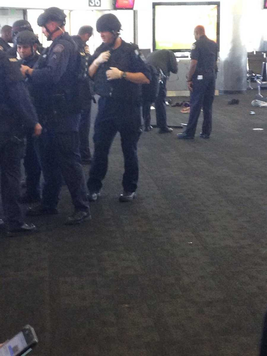 These photos, taken inside Terminal 3 by Twitter user pascaljosh, shows a semi-automatic rifle on the ground near a gate.