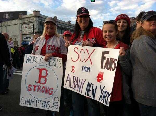 New Yorkers cheer on the Sox.