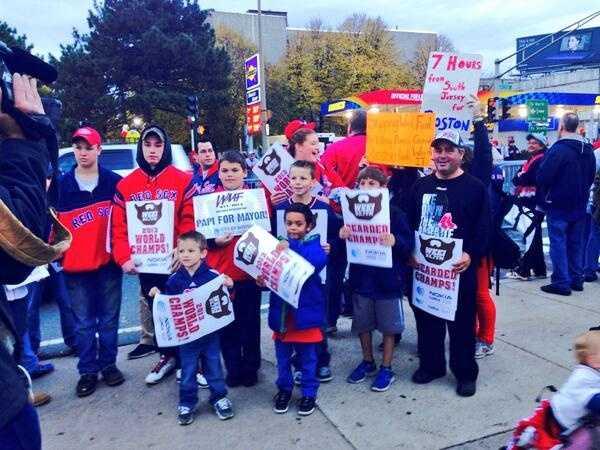 Fans along Boylston Street.