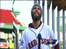 Dustin Pedroia revs up the crowd.