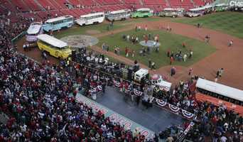 Duck boats line up in Fenway Park in advance of the Boston Red Sox's championship parade in celebration of the baseball team's World Series win, Saturday, Nov. 2, 2013, in Boston.