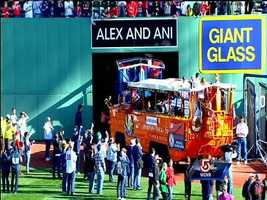 The Duck Boats leave Fenway