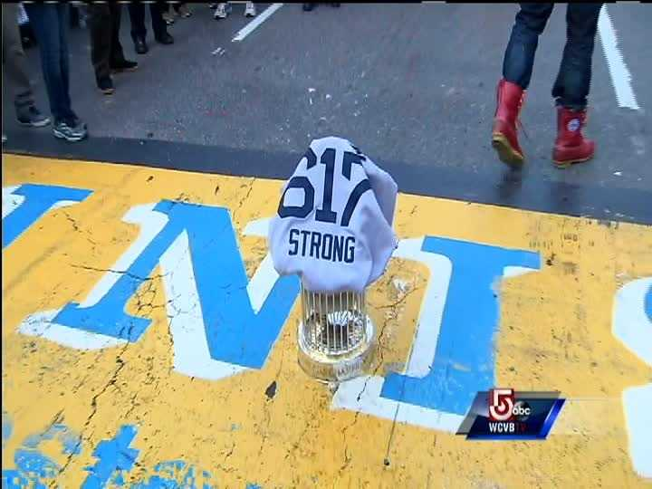 The World Series Trophy on the Finish Line of the Boston Marathon. Boston Strong
