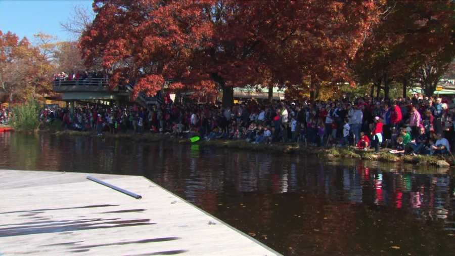 Fans lined the banks of the Charles River.