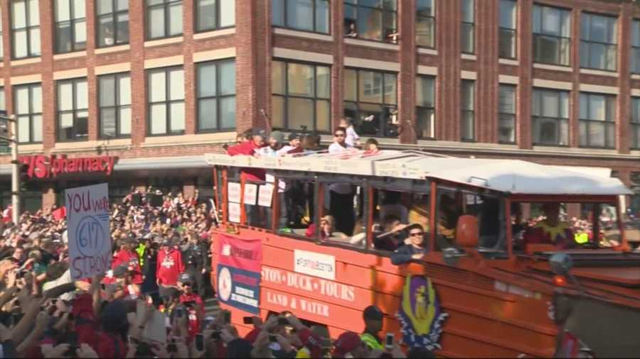 From the Green Monster to the Charles River, the bearded champions celebrated their improbable journey during a rolling rally on Nov. 2.