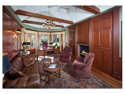 Custom solid wood panels, gas fireplace