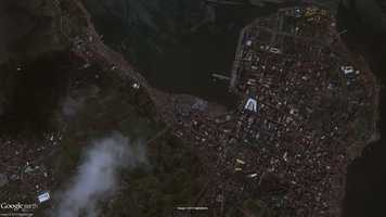 The images show most of Tacloban City and some nearby areas.