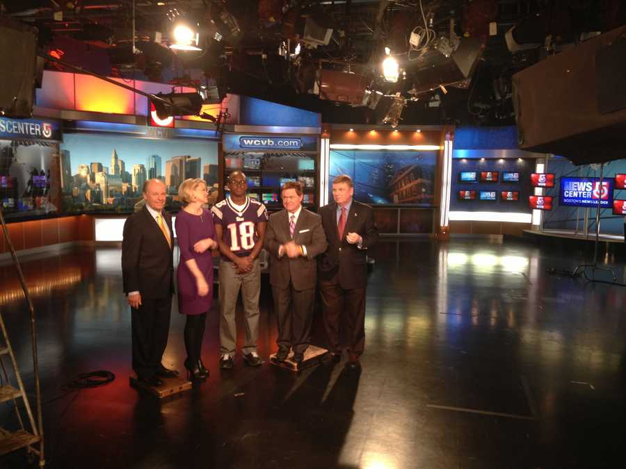 Slater represents the New England Patriots as a member of United Way Team NFL for the United Way of Massachusetts Bay and Merrimack Valley. He is seen here with Harvey Leonard, Heather Unruh, Ed Harding and Mike Lynch of NewsCenter 5.