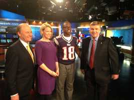 New England Patriots wide receiver Matthew Slater visits WCVB to tape a public service announcement promoting volunteerism.  He is seen here with Harvey Leonard, Heather Unruh and Mike Lynch of NewsCenter 5.