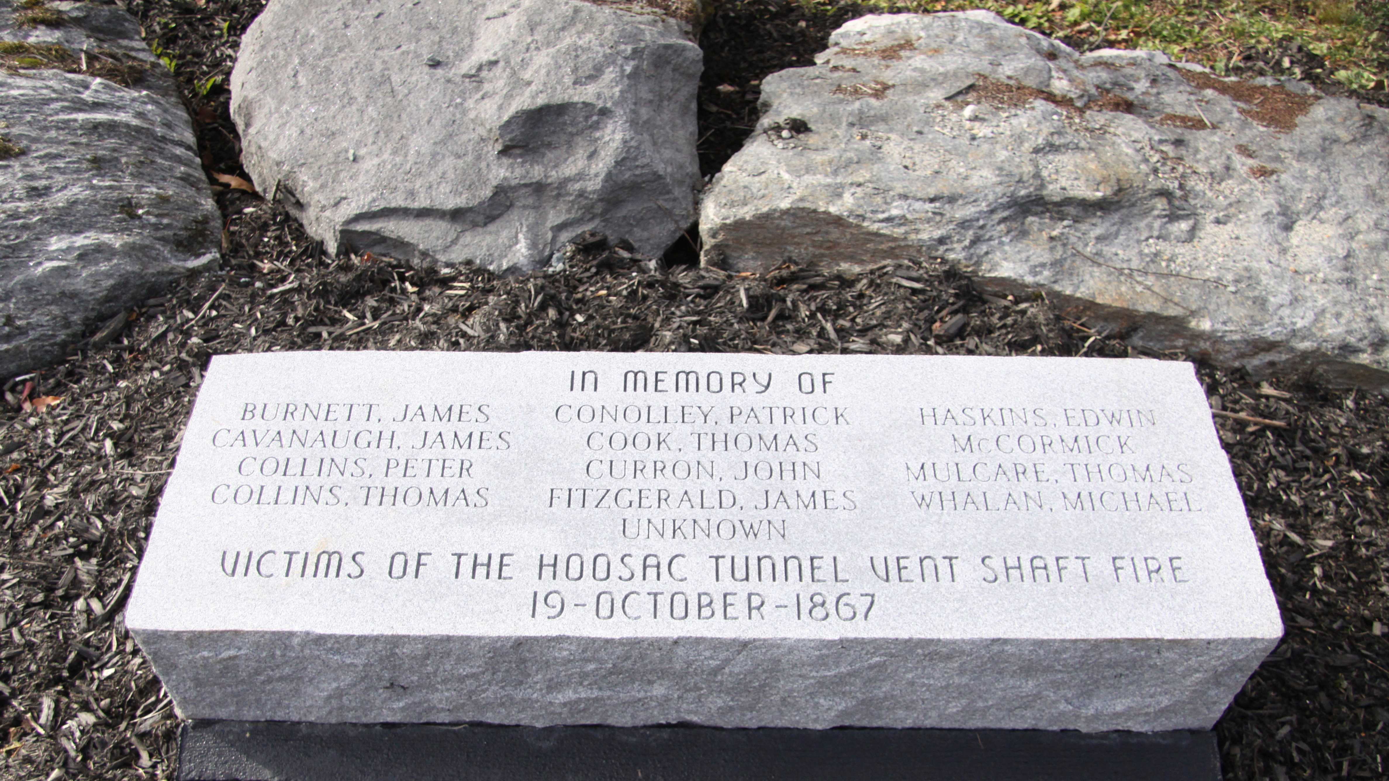 Victims of the Hoosac Tunnel shaft fire are not forgotten. The memorial to the workers is located on Old Shaft Road in Florida, Mass.
