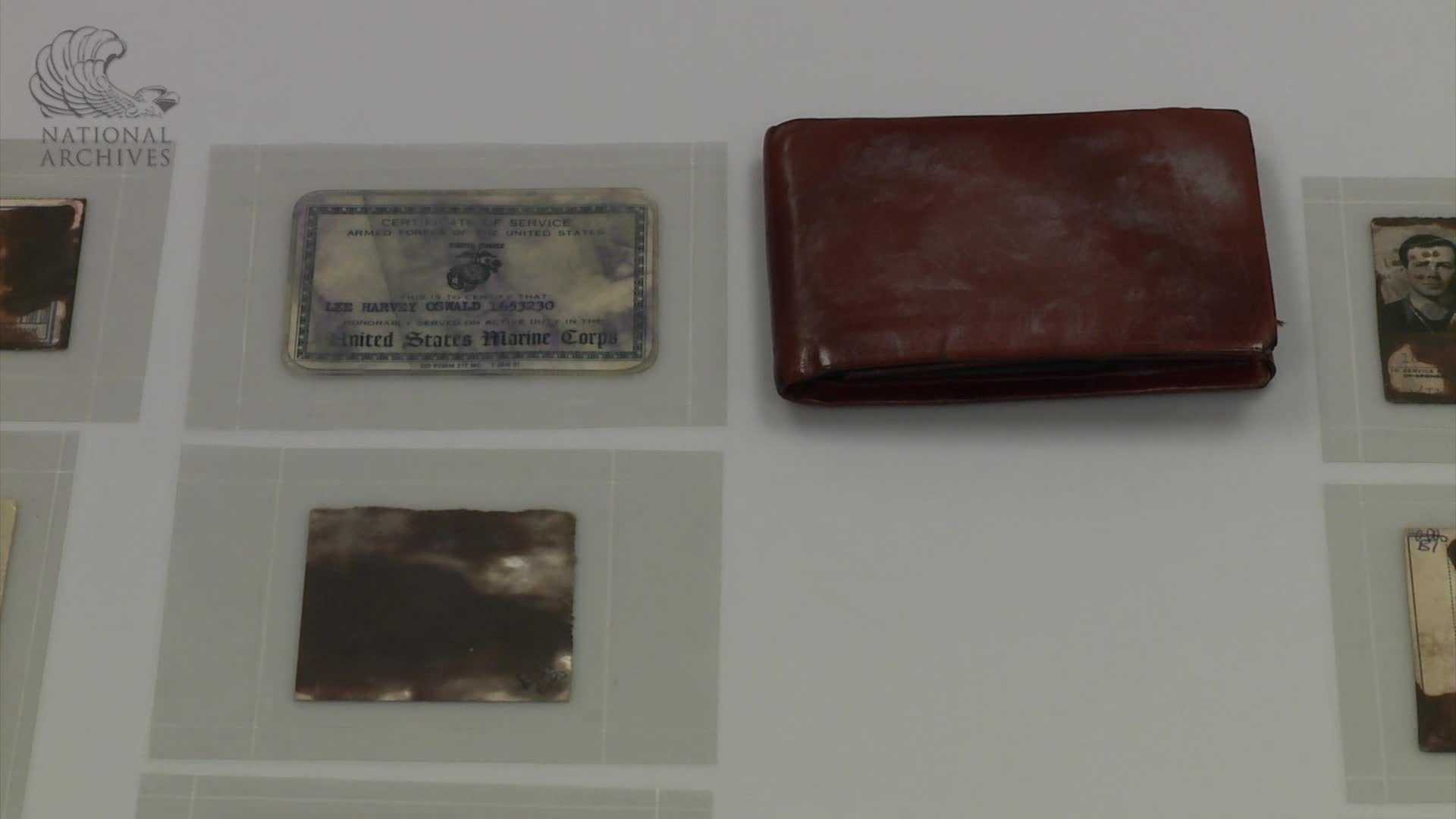 Among the items, the wallet carried by Lee Harvey Oswald when he was arrested for killing President Kennedy.